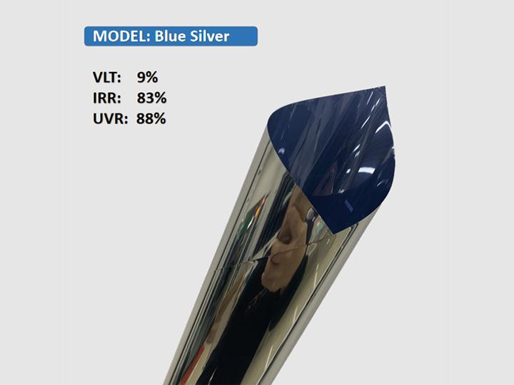 סרט חלון קישוט בניין כסף כחול KPAL
